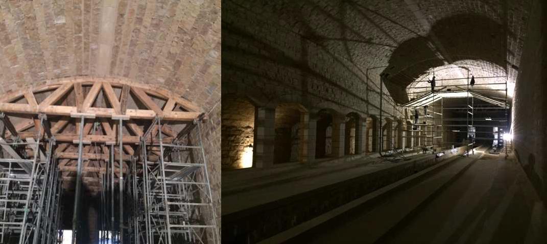 SETP Fort des Rousses plafond échaffaudage